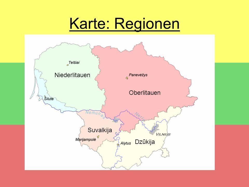 Karte: Regionen Oberlitauen Suvalkija Dzūkija Niederlitauen