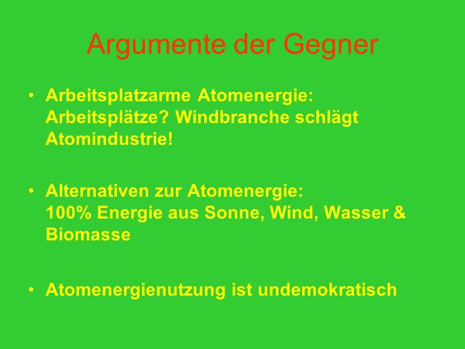 Argumente der Gegner Arbeitsplatzarme Atomenergie: Arbeitsplätze? Windbranche schlägt Atomindustrie! Alternativen zur Atomenergie: 100% Energie aus So