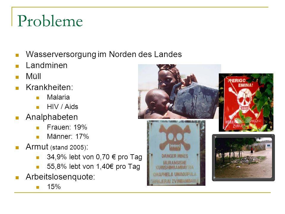 Probleme Wasserversorgung im Norden des Landes Landminen Müll Krankheiten: Malaria HIV / Aids Analphabeten Frauen: 19% Männer: 17% Armut (stand 2005) : 34,9% lebt von 0,70 € pro Tag 55,8% lebt von 1,40€ pro Tag Arbeitslosenquote: 15%