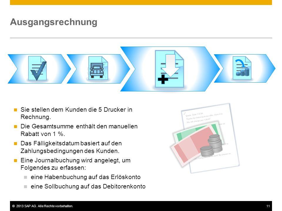 ©2013 SAP AG. Alle Rechte vorbehalten.11 Ausgangsrechnung Sie stellen dem Kunden die 5 Drucker in Rechnung. Die Gesamtsumme enthält den manuellen Raba