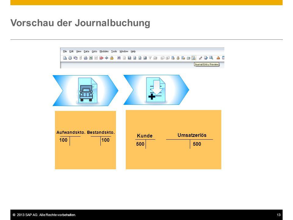 ©2013 SAP AG. Alle Rechte vorbehalten.13 Vorschau der Journalbuchung 100 Bestandskto.Aufwandskto. Umsatzerlös Kunde 500