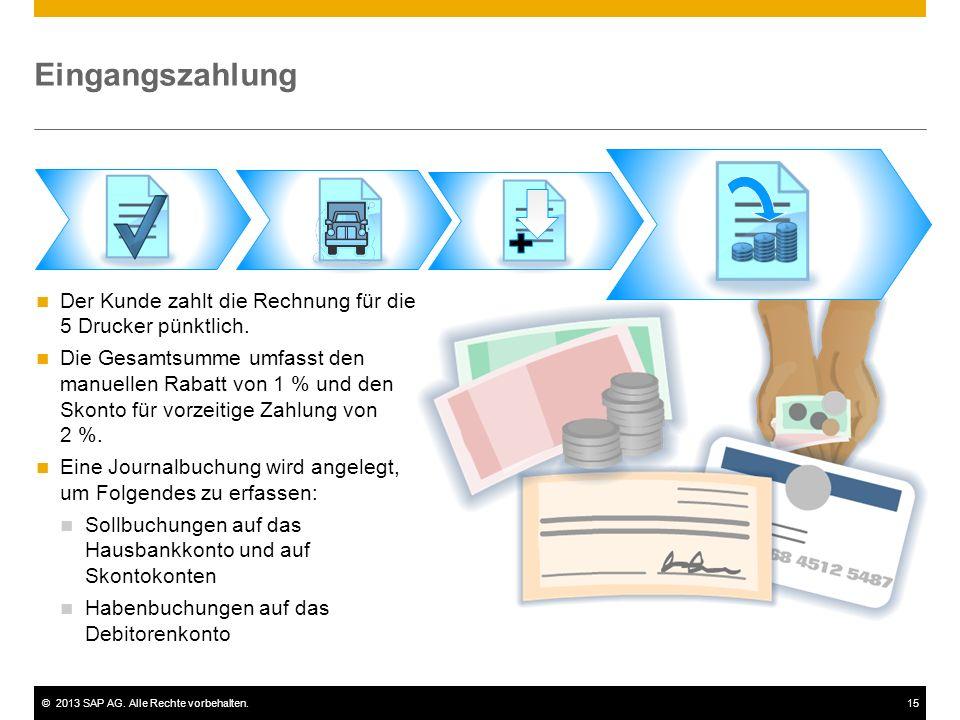 ©2013 SAP AG. Alle Rechte vorbehalten.15 Eingangszahlung Der Kunde zahlt die Rechnung für die 5 Drucker pünktlich. Die Gesamtsumme umfasst den manuell