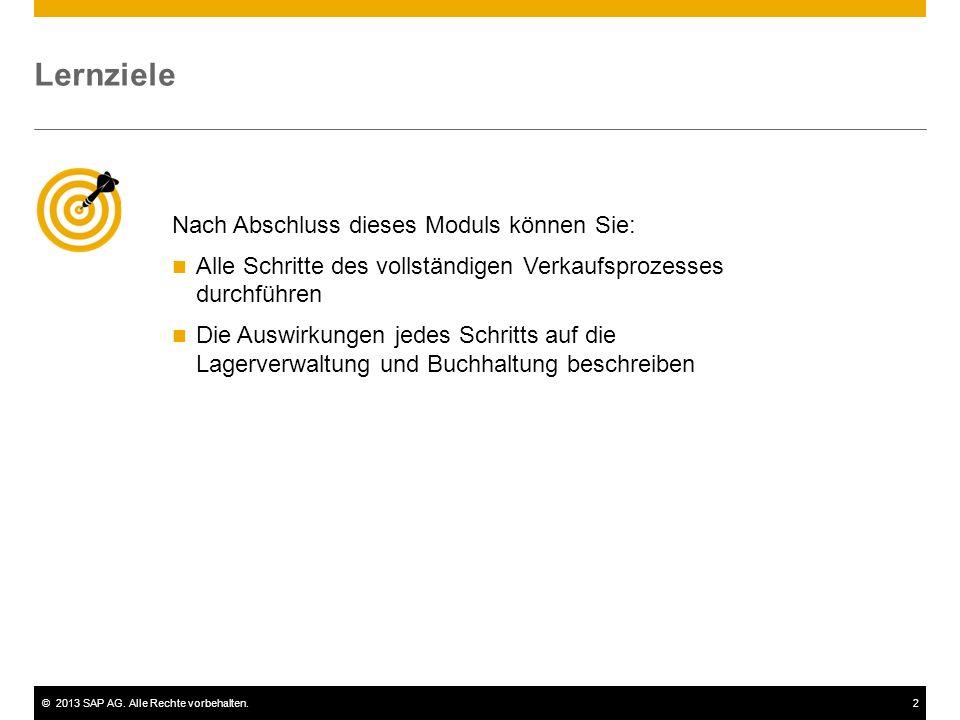 ©2013 SAP AG. Alle Rechte vorbehalten.2 Nach Abschluss dieses Moduls können Sie: Alle Schritte des vollständigen Verkaufsprozesses durchführen Die Aus