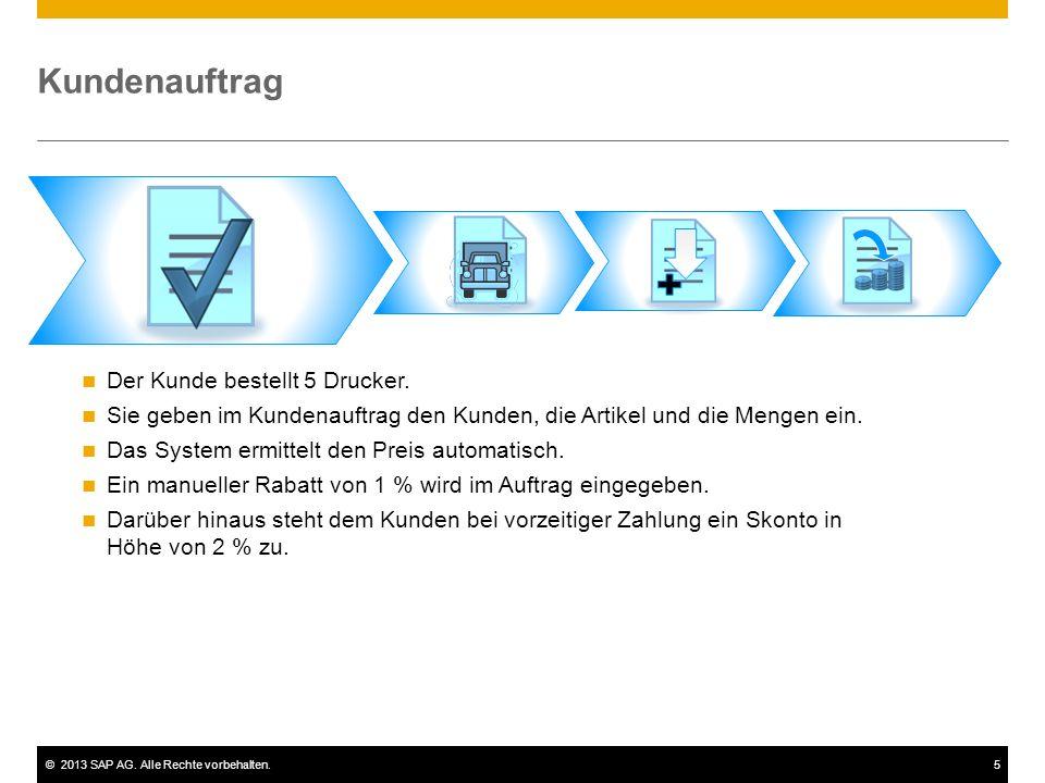 ©2013 SAP AG. Alle Rechte vorbehalten.5 Kundenauftrag Der Kunde bestellt 5 Drucker. Sie geben im Kundenauftrag den Kunden, die Artikel und die Mengen