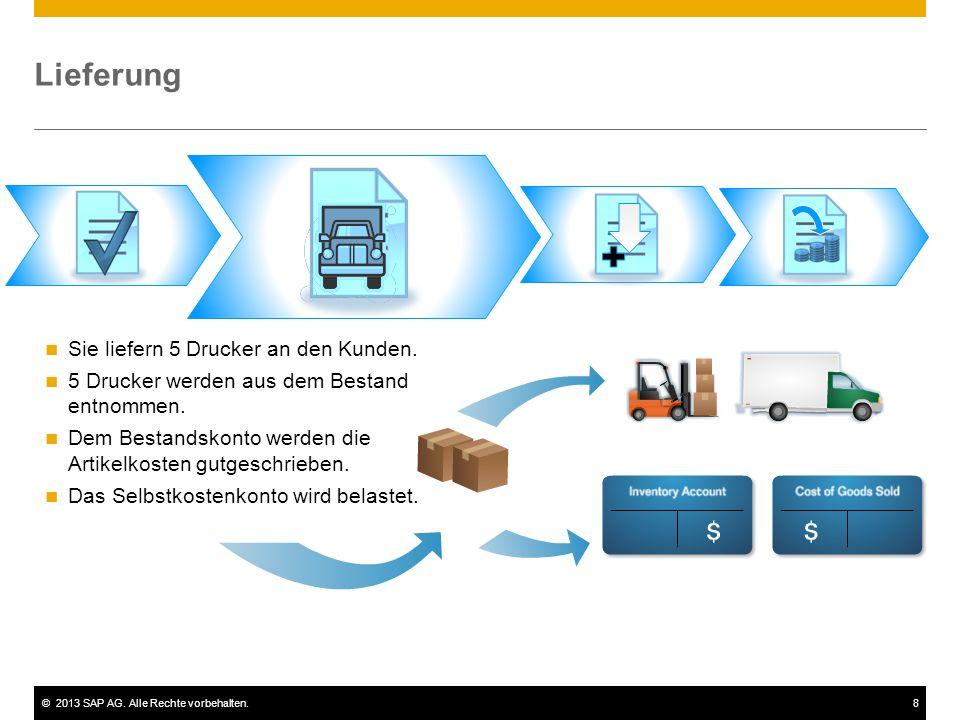 ©2013 SAP AG. Alle Rechte vorbehalten.8 Lieferung Sie liefern 5 Drucker an den Kunden. 5 Drucker werden aus dem Bestand entnommen. Dem Bestandskonto w