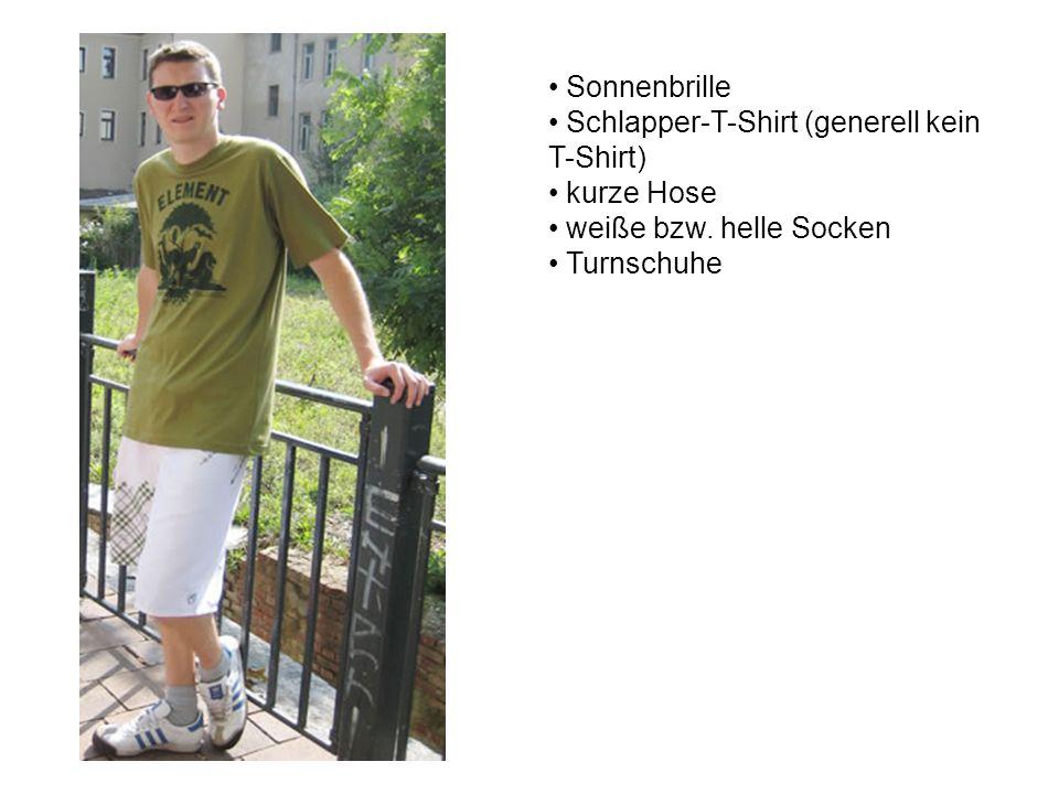 Sonnenbrille Schlapper-T-Shirt (generell kein T-Shirt) kurze Hose weiße bzw.