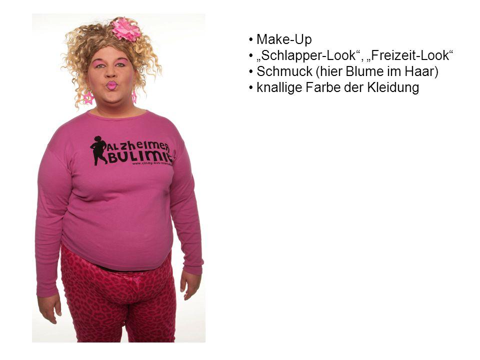 """Make-Up """"Schlapper-Look , """"Freizeit-Look Schmuck (hier Blume im Haar) knallige Farbe der Kleidung"""