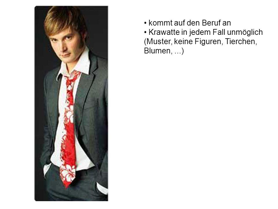 Kopfbedeckung (keine Mützen, keine Cappies) Krawatte unmöglich Hemd in die Hose Tattoos