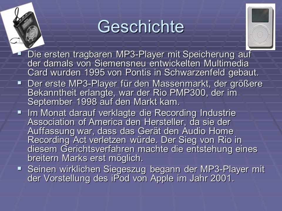 Geschichte  Die ersten tragbaren MP3-Player mit Speicherung auf der damals von Siemensneu entwickelten Multimedia Card wurden 1995 von Pontis in Schwarzenfeld gebaut.