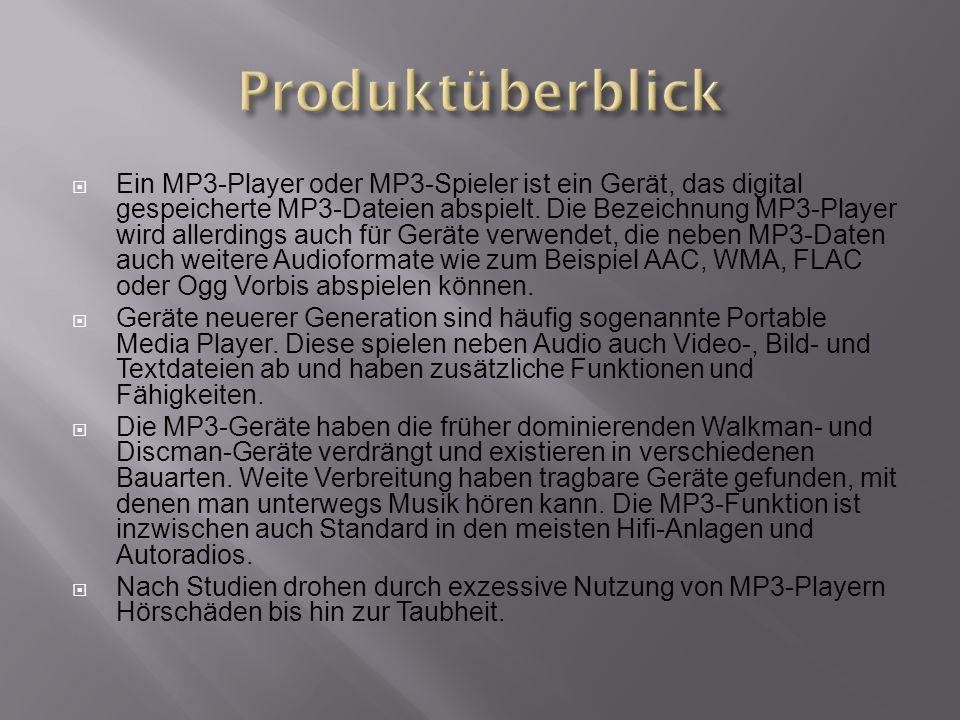  Ein MP3-Player oder MP3-Spieler ist ein Gerät, das digital gespeicherte MP3-Dateien abspielt.
