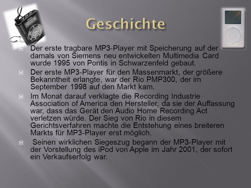 Der erste tragbare MP3-Player mit Speicherung auf der damals von Siemens neu entwickelten Multimedia Card wurde 1995 von Pontis in Schwarzenfeld gebaut.