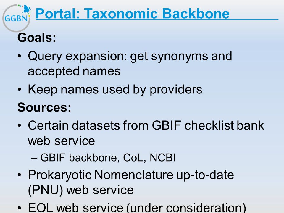 Textmasterformat bearbeiten –Zweite Ebene Dritte Ebene –Vierte Ebene »Fünfte Ebene Titelmasterformat durch Klicken bearbeiten Portal: Taxonomic Backbone Goals: Query expansion: get synonyms and accepted names Keep names used by providers Sources: Certain datasets from GBIF checklist bank web service –GBIF backbone, CoL, NCBI Prokaryotic Nomenclature up-to-date (PNU) web service EOL web service (under consideration) The Plant list web service (under consideration)