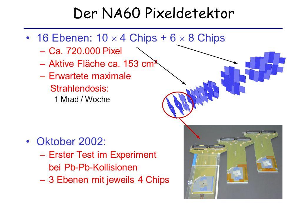 Der Pixelchip Alice1LHCb Pixel Chip –8192 Pixelzellen à 50  425  m² –Erfolgreich getestet bis 12 Mrad (Teststrukturen bis zu 30 Mrad) –10 MHz Auslese Matrix aus 32 × 256 Pixelzellen (sensitive Fläche 13,6 mm × 12,8 mm) 15 mm 14 mm