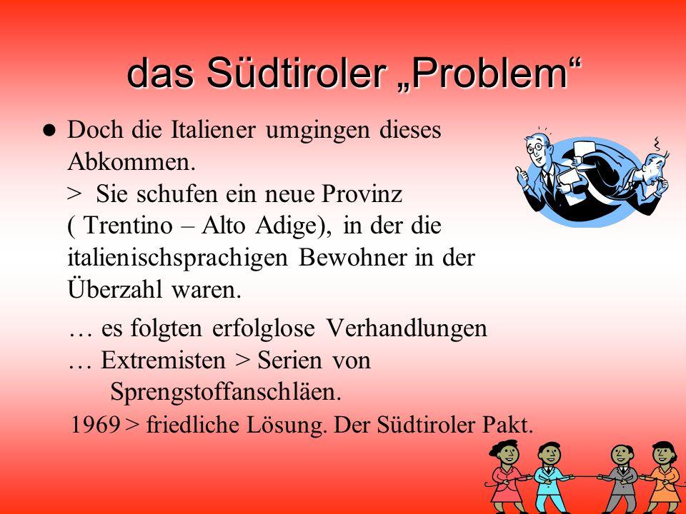 """das Südtiroler """"Problem Italien =Verlierer > viele Gebiete abtreten."""