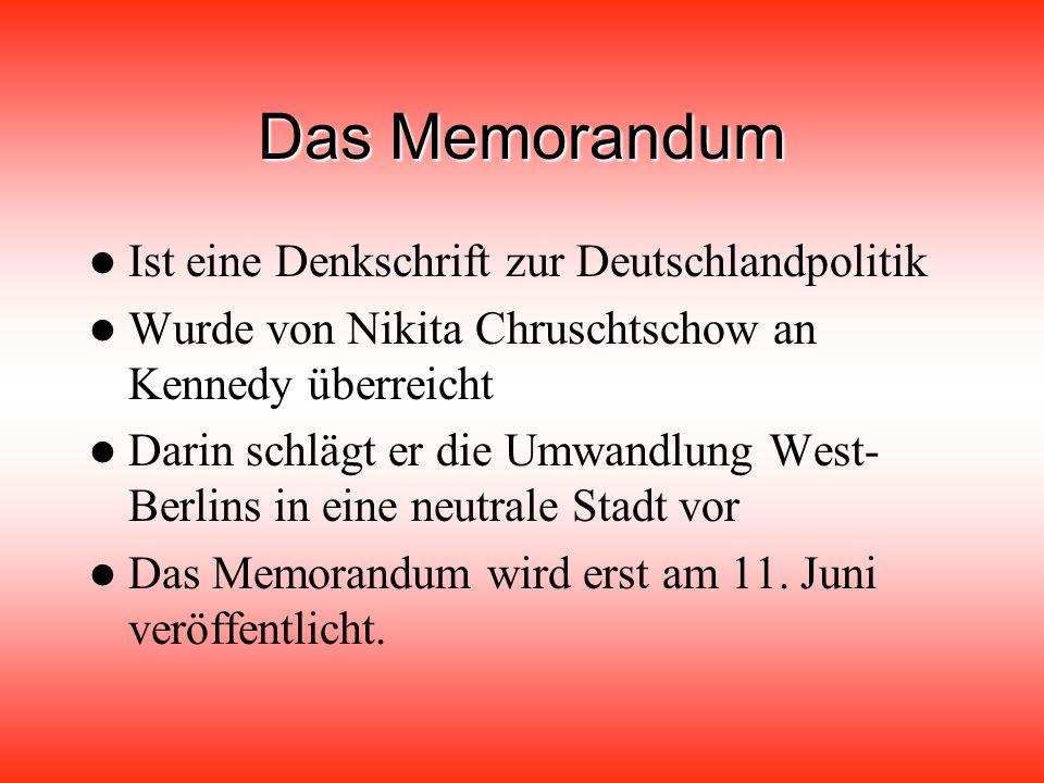 Es trafen sich der sowjetische Ministerpräsident Chruschtschow und der amerikanische Präsident John F Für die Wiener und Wienerinnen ist dieses Gipfeltreffen ein Ereignis ersten Ranges Besonders stürmisch begrüßt wurden die Ehefrauen der Politiker Nina Chruschtschow und Jackie Kennedy