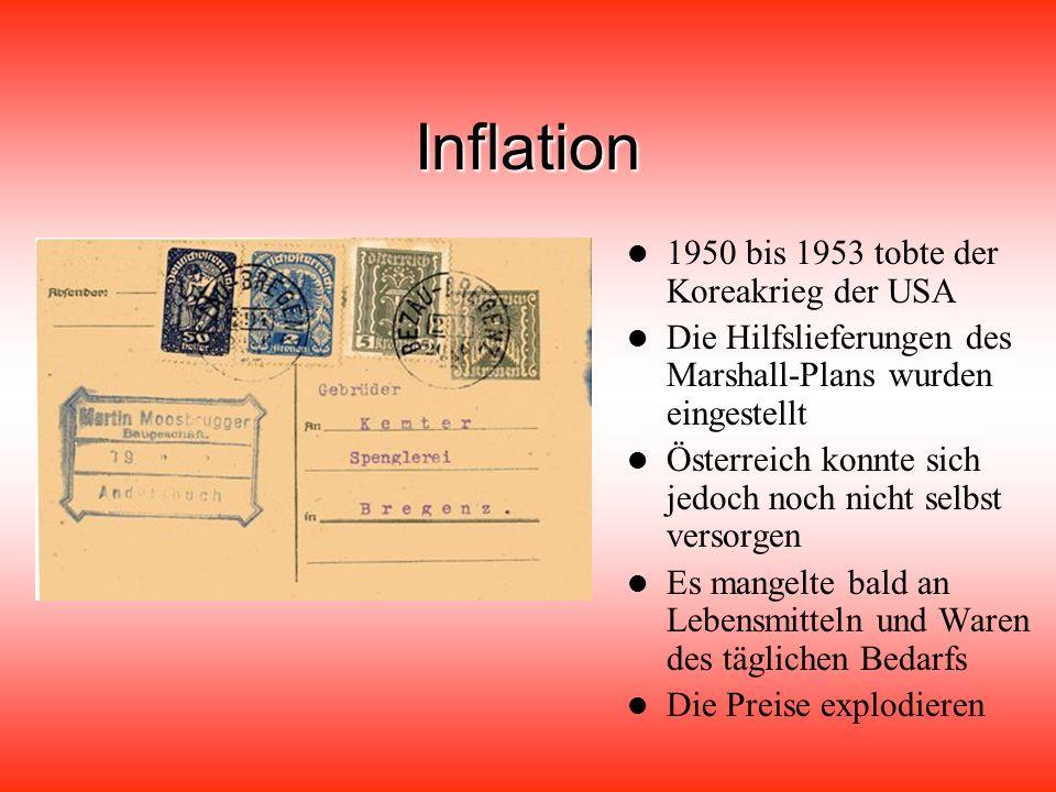 Inflation 1950 bis 1953 tobte der Koreakrieg der USA Die Hilfslieferungen des Marshall-Plans wurden eingestellt Österreich konnte sich jedoch noch nicht selbst versorgen Es mangelte bald an Lebensmitteln und Waren des täglichen Bedarfs Die Preise explodieren