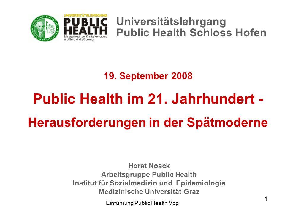 Einführung Public Health Vbg 1 19. September 2008 Public Health im 21.