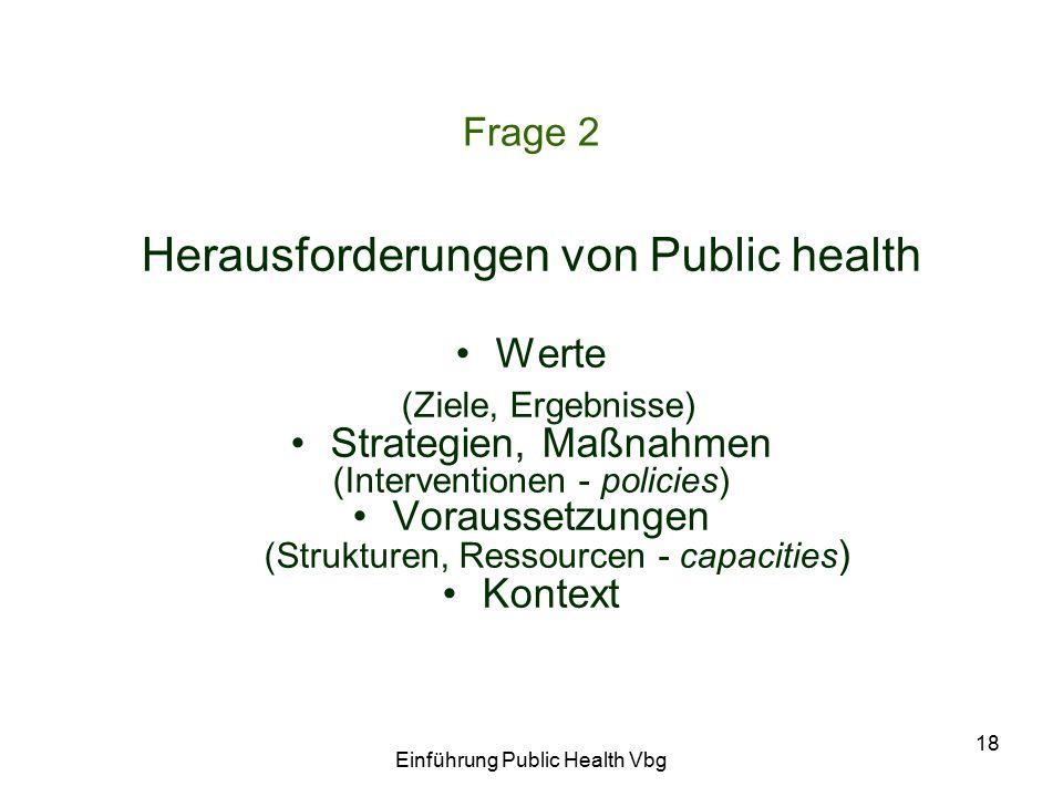 Einführung Public Health Vbg 18 Frage 2 Herausforderungen von Public health Werte (Ziele, Ergebnisse) Strategien, Maßnahmen (Interventionen - policies) Voraussetzungen (Strukturen, Ressourcen - capacities ) Kontext
