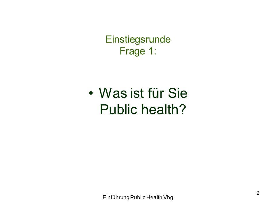 Einführung Public Health Vbg 2 Einstiegsrunde Frage 1: Was ist für Sie Public health