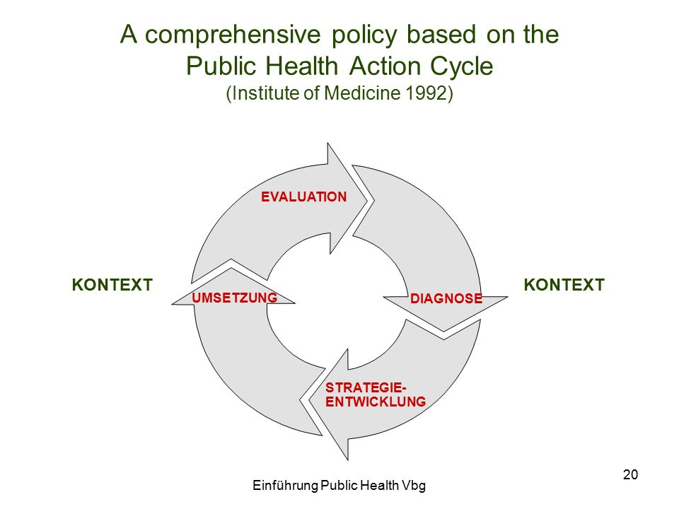 Einführung Public Health Vbg 20 A comprehensive policy based on the Public Health Action Cycle (Institute of Medicine 1992) DIAGNOSE STRATEGIE- ENTWIC