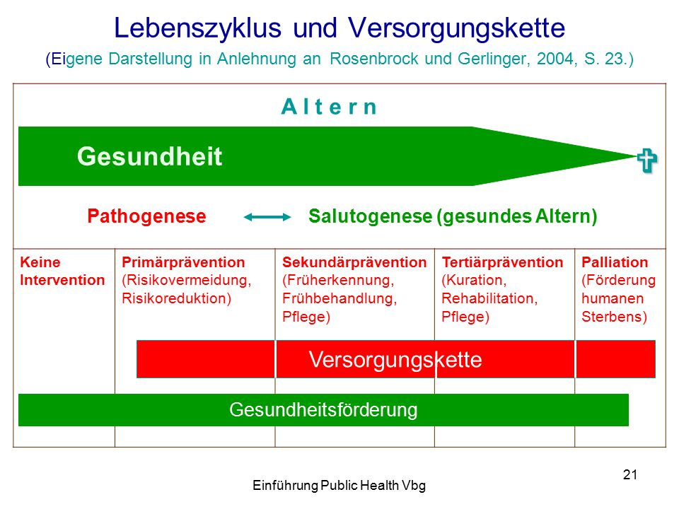 Einführung Public Health Vbg 21 Lebenszyklus und Versorgungskette (Eigene Darstellung in Anlehnung an Rosenbrock und Gerlinger, 2004, S.