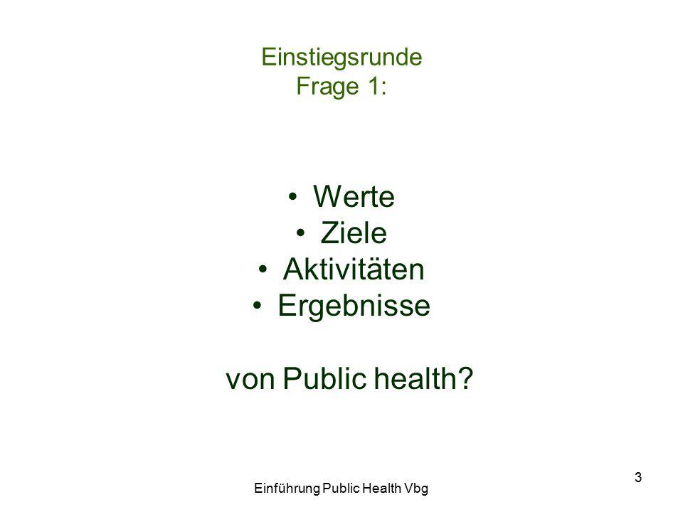Einführung Public Health Vbg 3 Einstiegsrunde Frage 1: Werte Ziele Aktivitäten Ergebnisse von Public health