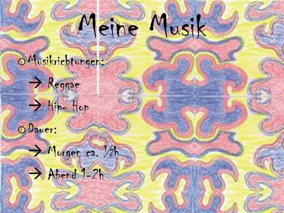 Meine Musik o Musikrichtungen:  Reggae  Hip- Hop o Dauer:  Morgen ca. ½h  Abend 1-2h