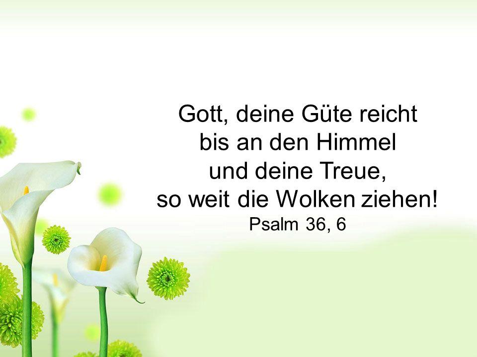 Gott, deine Güte reicht bis an den Himmel und deine Treue, so weit die Wolken ziehen! Psalm 36, 6