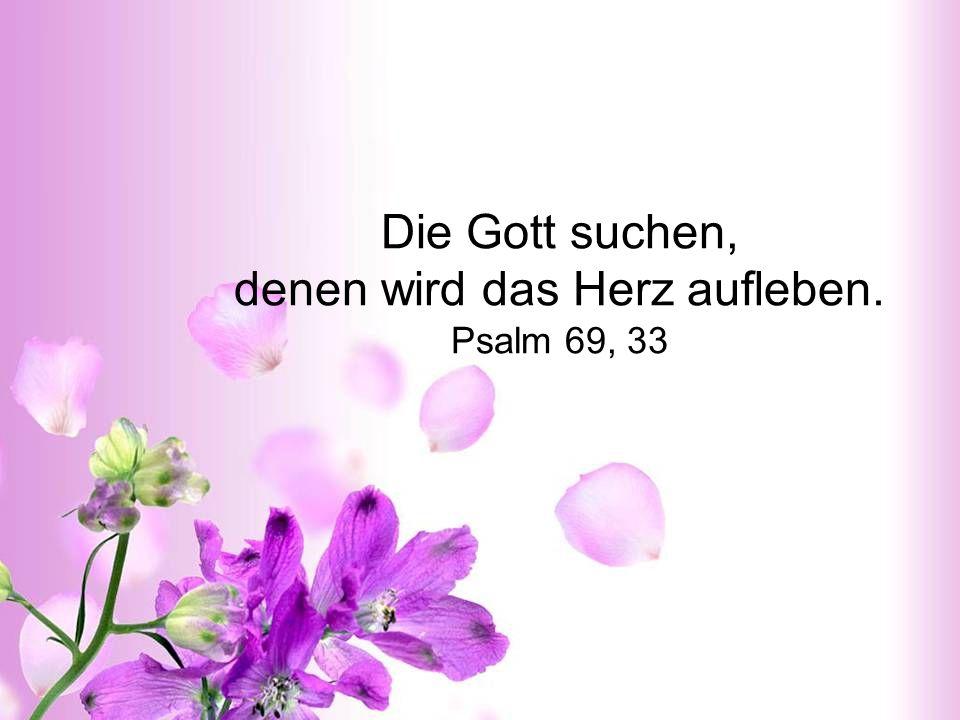 Die Gott suchen, denen wird das Herz aufleben. Psalm 69, 33