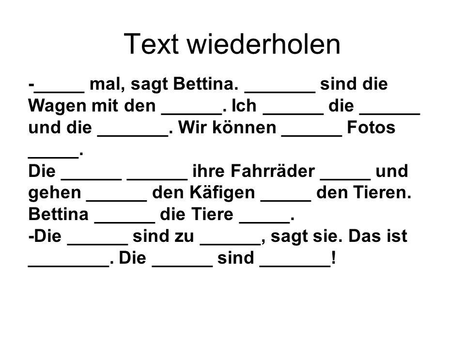 Text wiederholen -_____ mal, sagt Bettina. _______ sind die Wagen mit den ______. Ich ______ die ______ und die _______. Wir können ______ Fotos _____