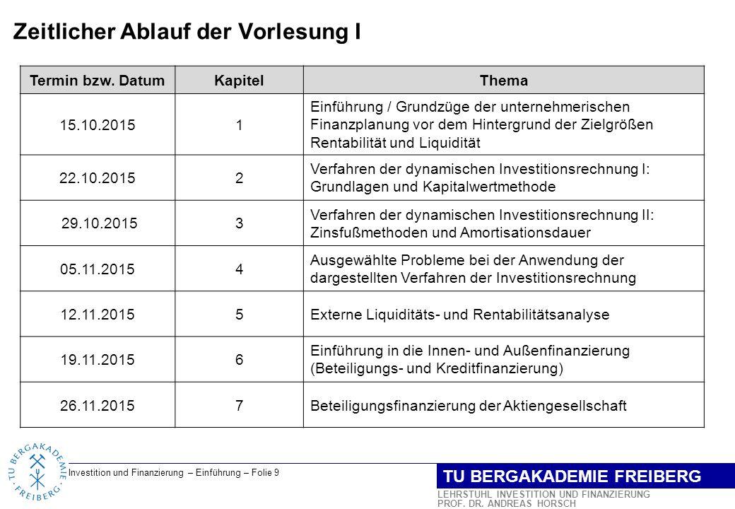 Investition und Finanzierung – Einführung – Folie 10 LEHRSTUHL INVESTITION UND FINANZIERUNG PROF.