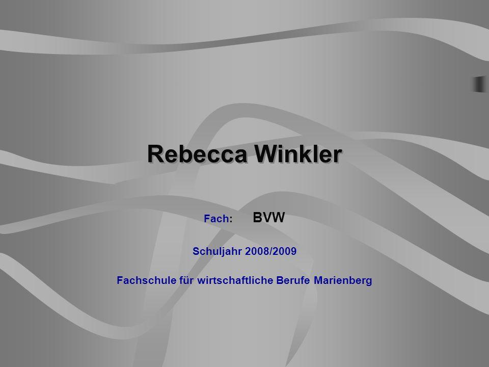 Rebecca Winkler Fach: BVW Schuljahr 2008/2009 Fachschule für wirtschaftliche Berufe Marienberg