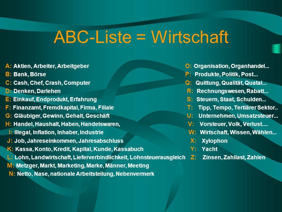 ABC-Liste = Wirtschaft A: Aktien, Arbeiter, Arbeitgeber O: Organisation, Organhandel... B: Bank, Börse P: Produkte, Politik, Post... C: Cash, Chef, Cr
