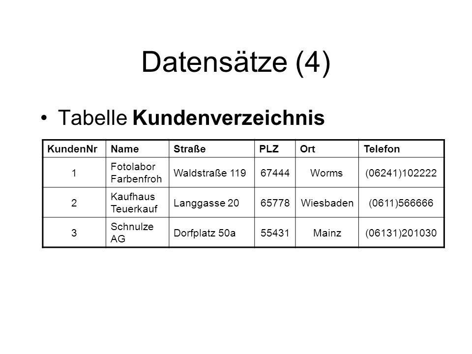 Datensätze (4) Tabelle Kundenverzeichnis KundenNrNameStraßePLZOrtTelefon 1 Fotolabor Farbenfroh Waldstraße 11967444Worms(06241)102222 2 Kaufhaus Teuer