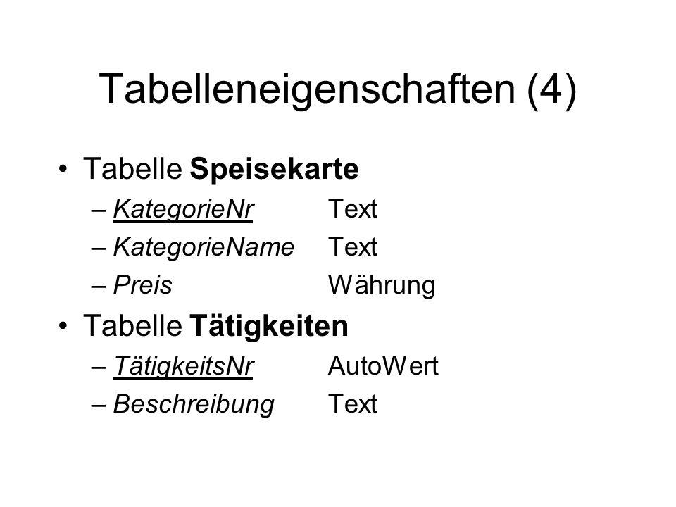 Tabelleneigenschaften (4) Tabelle Speisekarte –KategorieNrText –KategorieNameText –PreisWährung Tabelle Tätigkeiten –TätigkeitsNrAutoWert –Beschreibun