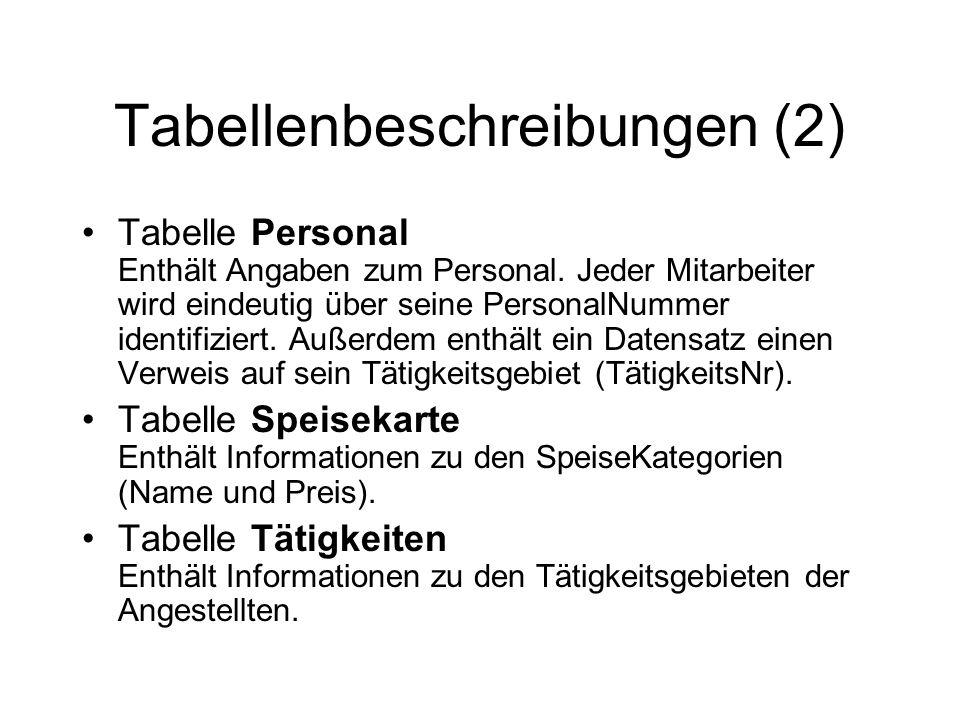 Tabellenbeschreibungen (2) Tabelle Personal Enthält Angaben zum Personal. Jeder Mitarbeiter wird eindeutig über seine PersonalNummer identifiziert. Au