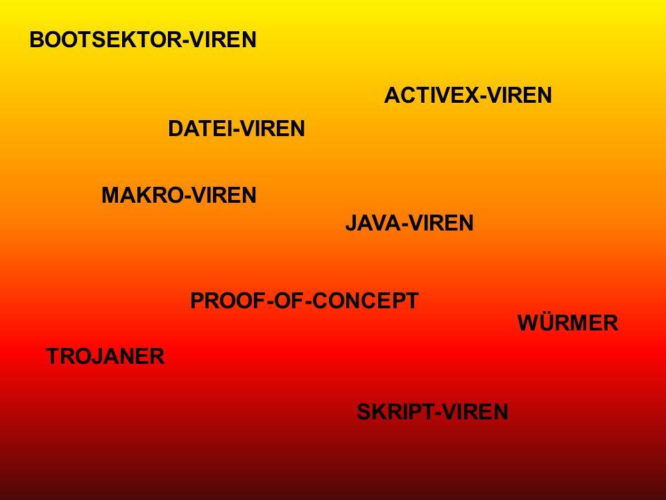 ACTIVEX-VIREN BOOTSEKTOR-VIREN DATEI-VIREN JAVA-VIREN MAKRO-VIREN PROOF-OF-CONCEPT SKRIPT-VIREN TROJANER WÜRMER