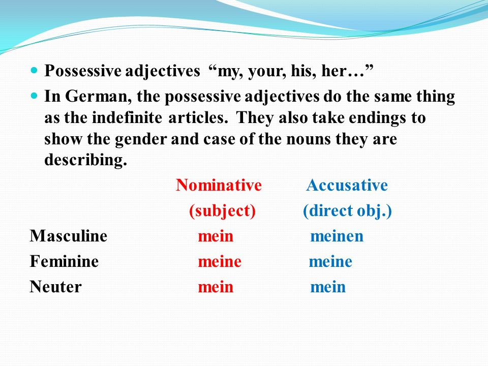 Possessive adjectives my, your, his, her… In German, the possessive adjectives do the same thing as the indefinite articles.