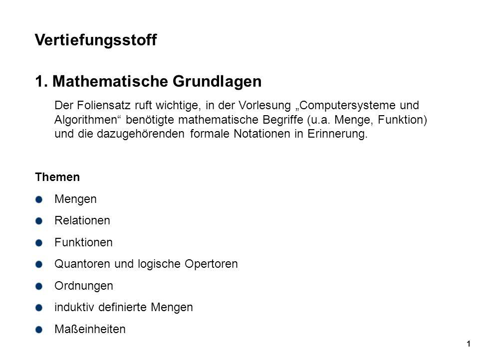 Mächtigkeit von Mengen Beispiele – |{a,b,c}| = 3 – |  – |Bool| = |{T,F}|= 2, |SQLBool| = |{T,F,U}| = 3 (U=Unknown, 3-wertige Logik) – |  | ist abzählbar – |  | = |  | – |  | ist überabzählbar, |  |  |  | – |  ({1,2,3}) | = 8 = 2 3 ;;; Mächtigkeit der Potenzmenge  ({1,2,3})