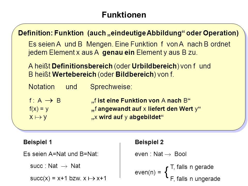 """Definition: Funktion (auch """"eindeutige Abbildung oder Operation) Es seien A und B Mengen."""