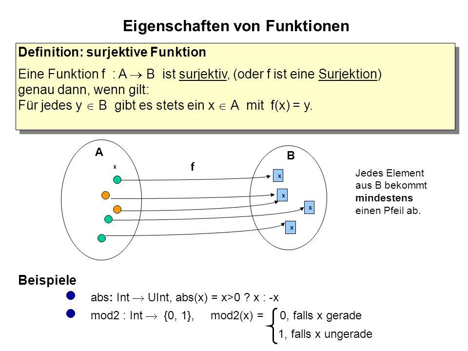 Eigenschaften von Funktionen Definition: surjektive Funktion Eine Funktion f : A  B ist surjektiv, (oder f ist eine Surjektion) genau dann, wenn gilt: Für jedes y  B gibt es stets ein x  A mit f(x) = y.