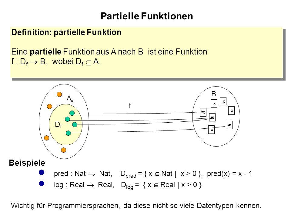 Partielle Funktionen Definition: partielle Funktion Eine partielle Funktion aus A nach B ist eine Funktion f : D f  B, wobei D f  A.