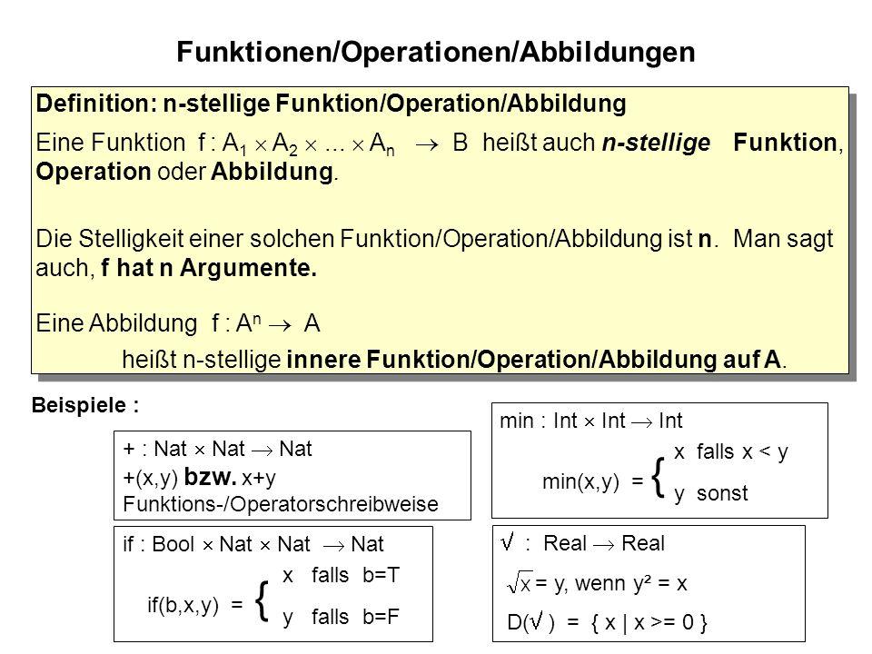 Funktionen/Operationen/Abbildungen Beispiele : + : Nat  Nat  Nat +(x,y) bzw.
