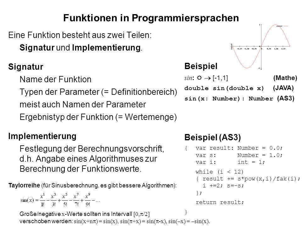 Funktionen in Programmiersprachen Eine Funktion besteht aus zwei Teilen: Signatur und Implementierung.