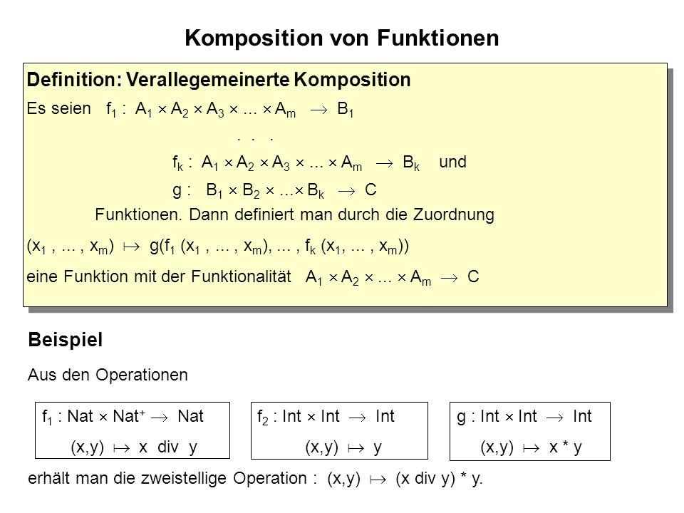 Komposition von Funktionen Beispiel Aus den Operationen f 2 : Int  Int  Int (x,y)   y f 1 : Nat  Nat +  Nat (x,y)   x div y erhält man die zweistellige Operation : (x,y)   (x div y) * y.