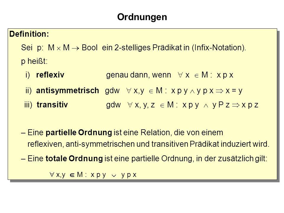 Ordnungen Definition: Sei p: M  M  Bool ein 2-stelliges Prädikat in (Infix-Notation).