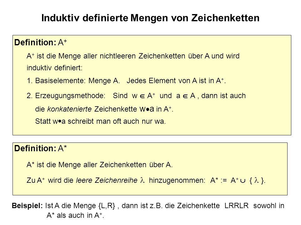 Induktiv definierte Mengen von Zeichenketten Beispiel: Ist A die Menge {L,R}, dann ist z.B.