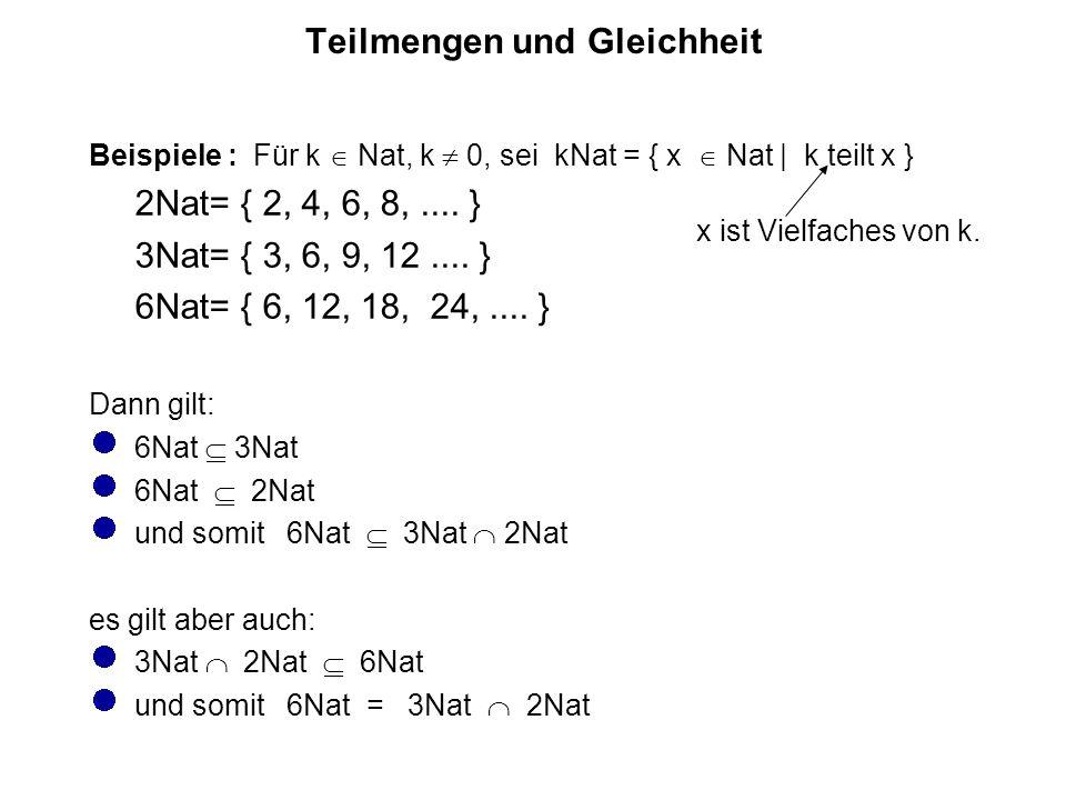Teilmengen und Gleichheit Beispiele : Für k  Nat, k  0, sei kNat = { x  Nat | k teilt x } 2Nat= { 2, 4, 6, 8,....