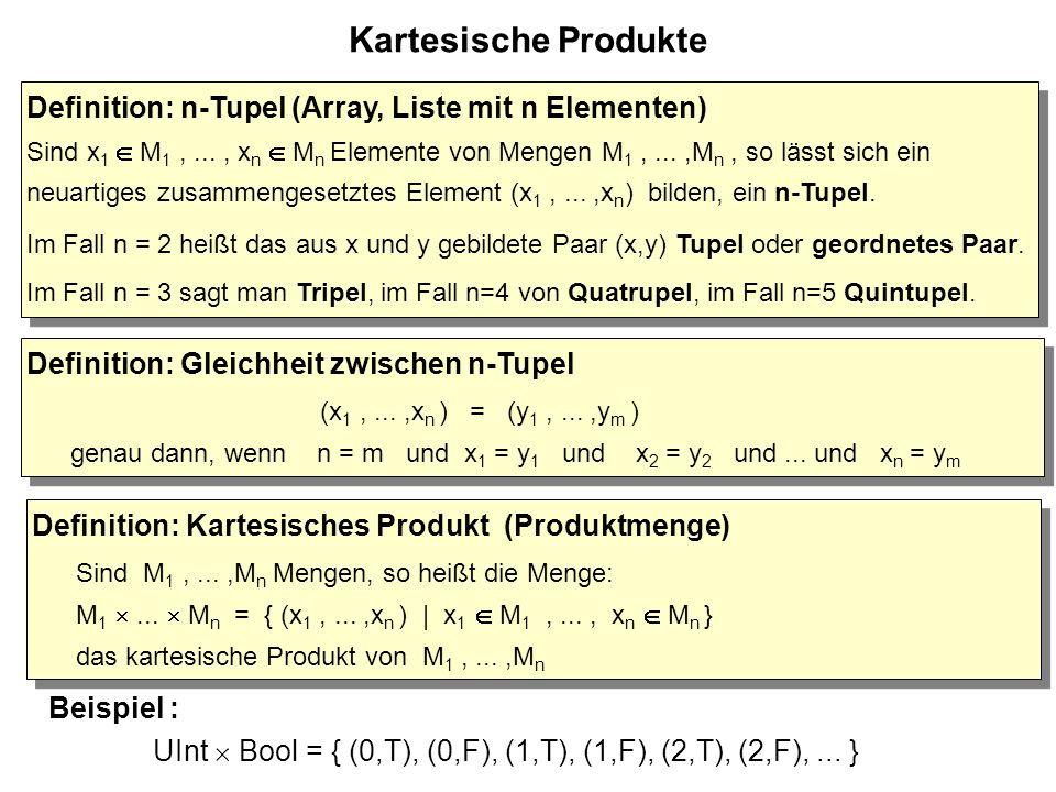 Eigenschaften von Funktionen Definition: bijektive Funktion Eine Funktion f : A  B ist bijektiv (oder f ist eine Bijektion) genau dann, wenn gilt: f ist surjektiv und f ist injektiv Definition: bijektive Funktion Eine Funktion f : A  B ist bijektiv (oder f ist eine Bijektion) genau dann, wenn gilt: f ist surjektiv und f ist injektiv x x x x x AB f Alle Elemente aus B werden von genau einem Pfeil getroffen.