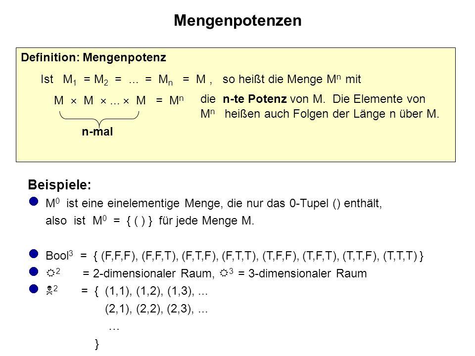 Potenzmenge Definition: Potenzmenge Ist M eine Menge, so ist die Menge aller Teilmengen von M die Potenzmenge  (M) von M, also:  (M) := { N | N  M }.